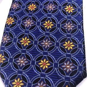 "Robert Talbott tie 61"" blue yellow floral silk USA"